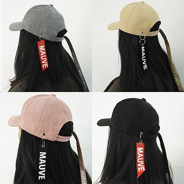 [超豐國際]韓國原宿飄帶棒球帽子夏天男女街頭字母遮陽嘻哈帽長1入