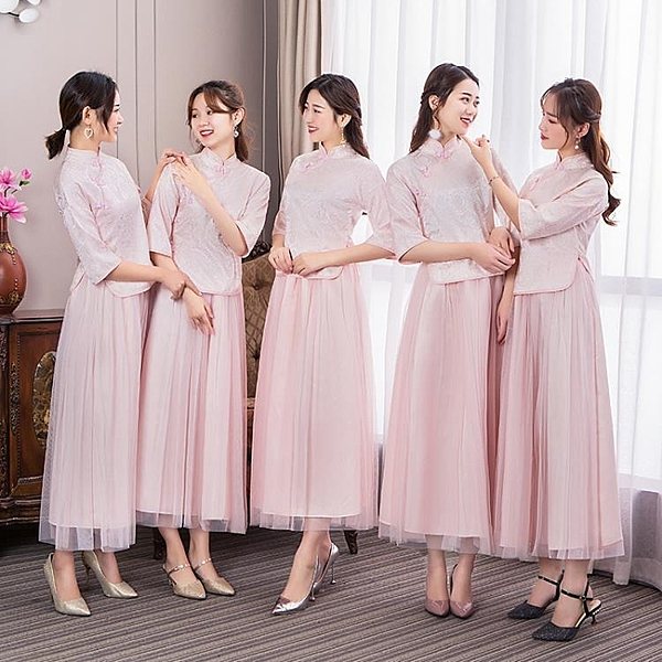 伴娘服 中式伴娘服女加大尺碼春夏新款復古立領粉色結婚伴娘團禮服姐妹裙宴會  禮服 雙十二8折