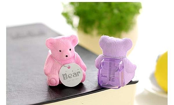 TwinS背包熊橡皮擦+卷筆刀簡易削鉛筆器【顏色隨機發貨】學生獎品可愛療癒系擺飾