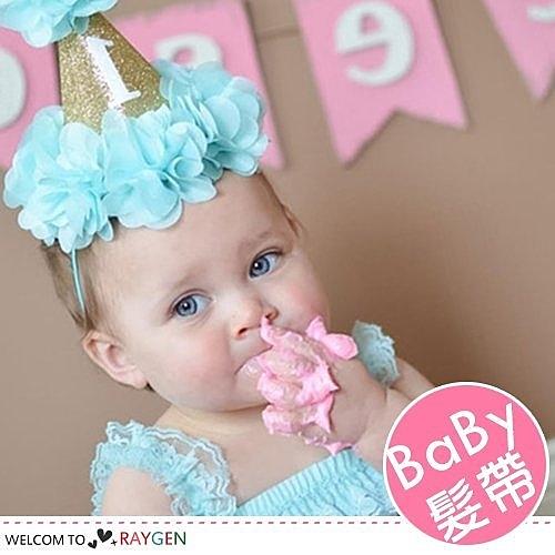 歐美女寶寶生日party金色花朵帽 髮帶