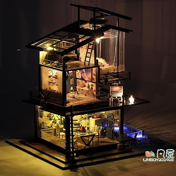 DIY小屋 天予diy小屋巴倫西亞海岸 大型別墅手工拼裝模型玩具情人節禮物女-快速出貨