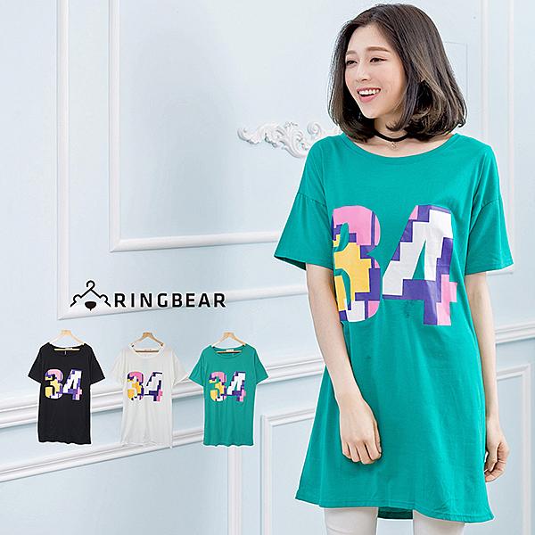 長版上衣--簡約百搭款彩色數字印圖長版連身T恤(白.黑.綠L-3L)-T229眼圈熊中大尺碼