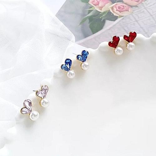 【NiNi Me】韓系耳環 氣質甜美愛心水晶珍珠耳環 夾式耳環 E0204