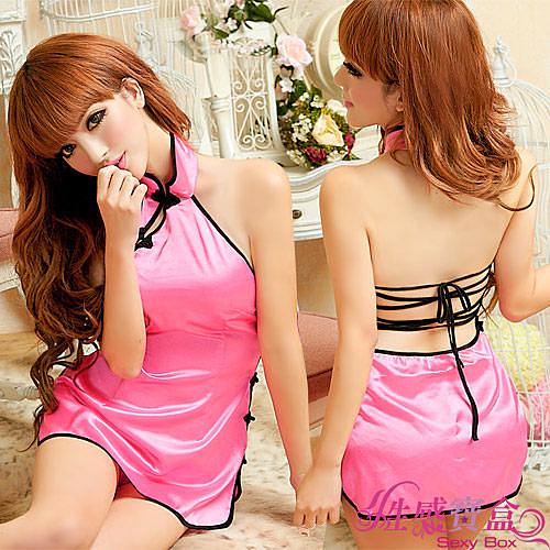 【性感寶盒】★嬌美纏綿!二件式旗袍裝★粉紅+黑┌NA11030198