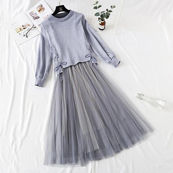 法式復古裙很仙的網紅兩件套裝長裙針織毛衣搭配仙女亮絲吊帶紗裙
