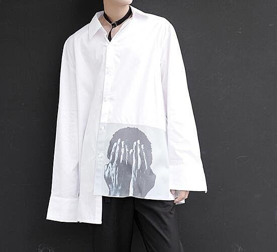 FINDSENSE Z1 韓國 時尚 潮 男 寬鬆大尺碼 下擺遮臉人臉印花 長袖