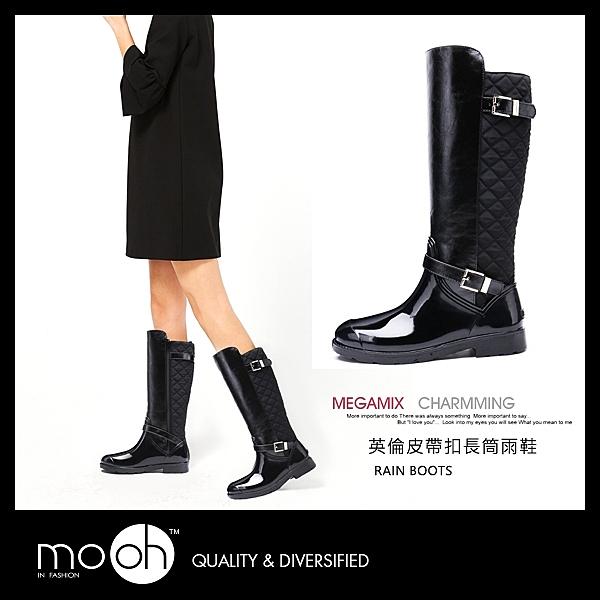 英倫格紋搭扣長筒保暖防水雨鞋 mo.oh (歐美鞋款)