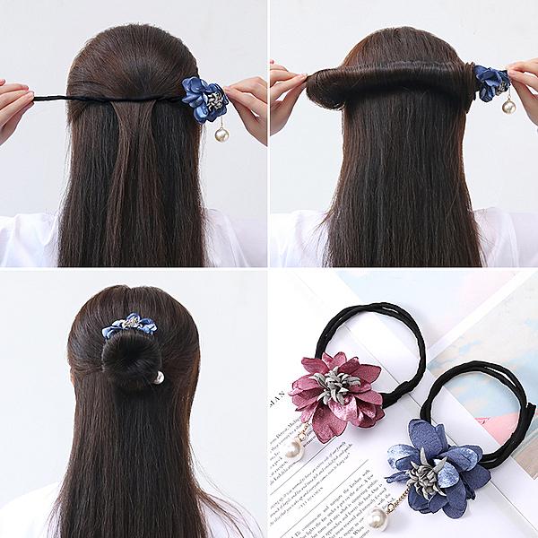 盤髮器 丸子頭花朵盤髮器女簡約編髮頭飾造型懶人神器百變蓬鬆花苞頭髮飾