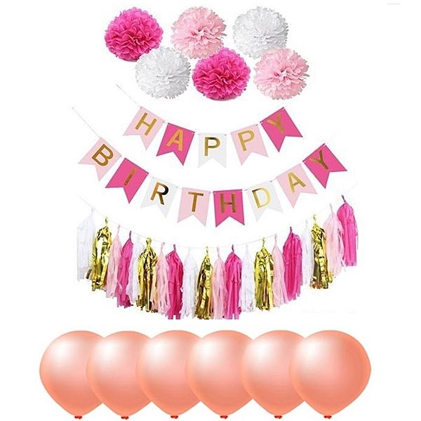 [拉拉百貨]玫紅色 紙花流蘇組 慶生 派對 場地佈置 慶生氣球 DIY