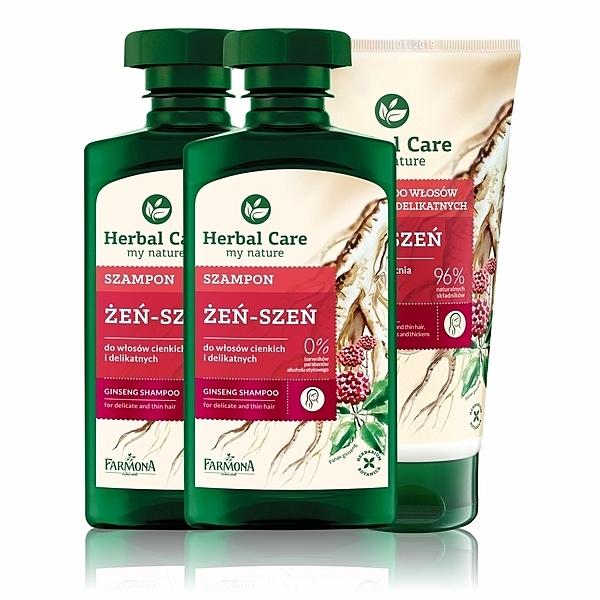Herbal care 波蘭植萃 - 人蔘固髮強健洗護髮3入組 (洗髮露/護髮素)