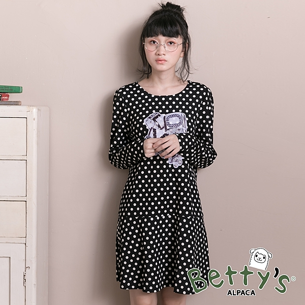 betty's貝蒂思 優雅復古love圓點洋裝(黑色)