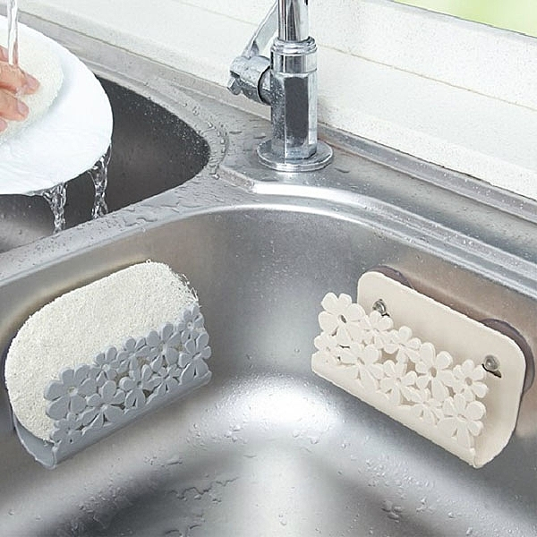 吸盤海綿架-北歐色雕花吸盤海綿收納架 肥皂架 瀝水架 海綿架【AN SHOP】