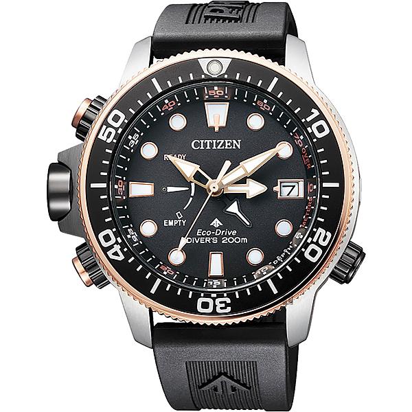 30週年紀念款 CITIZEN 星辰 PROMASTER 光動能200米潛水錶-玫瑰金圈/46mm BN2037-11E