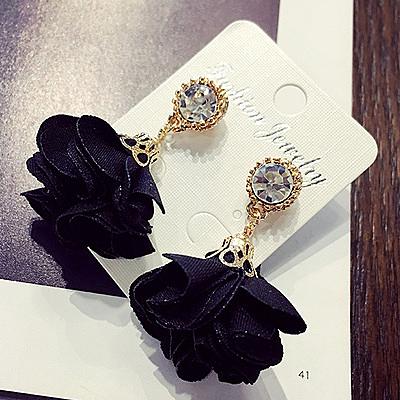 浪漫花季百搭水晶珍珠 時尚氣質長款耳環