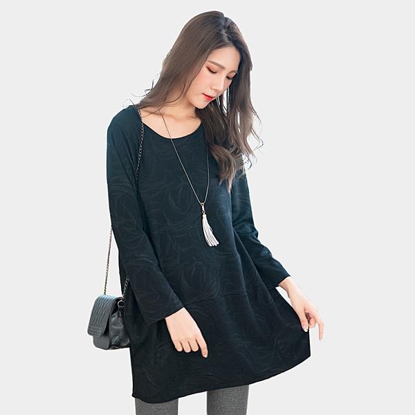 氣質洋裝--舒適優雅壓紋針織項鍊口袋拼接寬鬆修身連衣裙(黑.咖XL-3L)-A370眼圈熊中大尺碼◎
