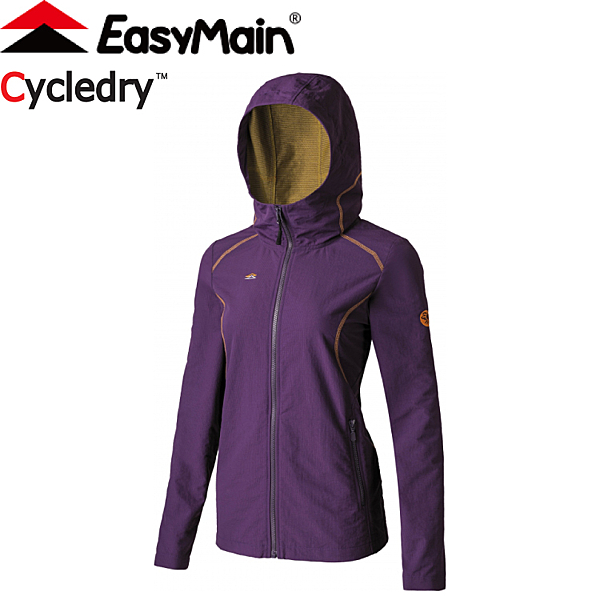 【EasyMain 衣力美 女款 輕巧耐磨快乾夾克風衣《深紫》】CE17088/四向彈性/防風快乾