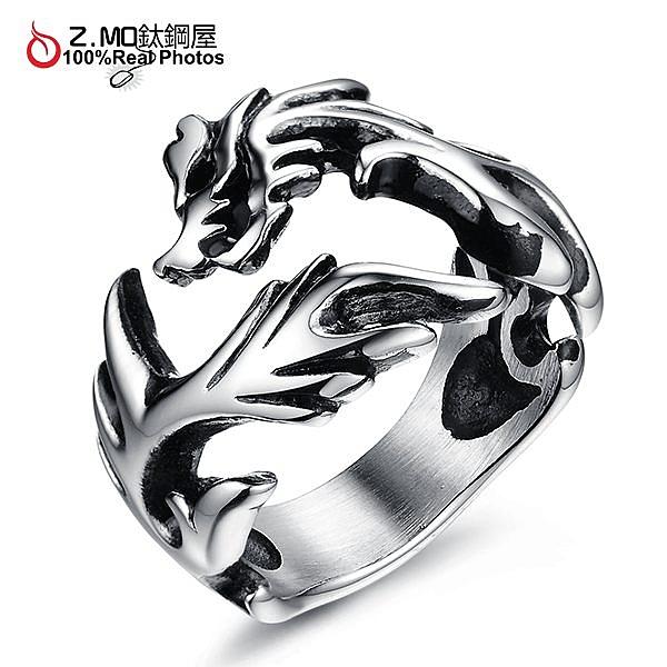[Z-MO鈦鋼屋]316L鈦鋼戒指/時尚白龍造型戒指/特別禮物/男友戒指推薦單只價【BKS397】