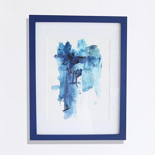 [超豐國際] 現代簡約餐廳掛 臥室壁畫藍色潑墨有框雙聯裝飾畫1入