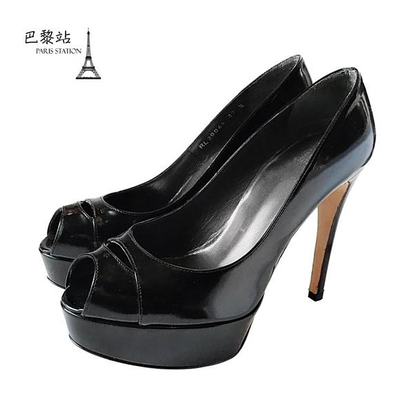 【巴黎站二手名牌專賣店】*全新現貨*Stuart Weitzman 真品*黑色漆皮魚口高跟鞋(37.5號)