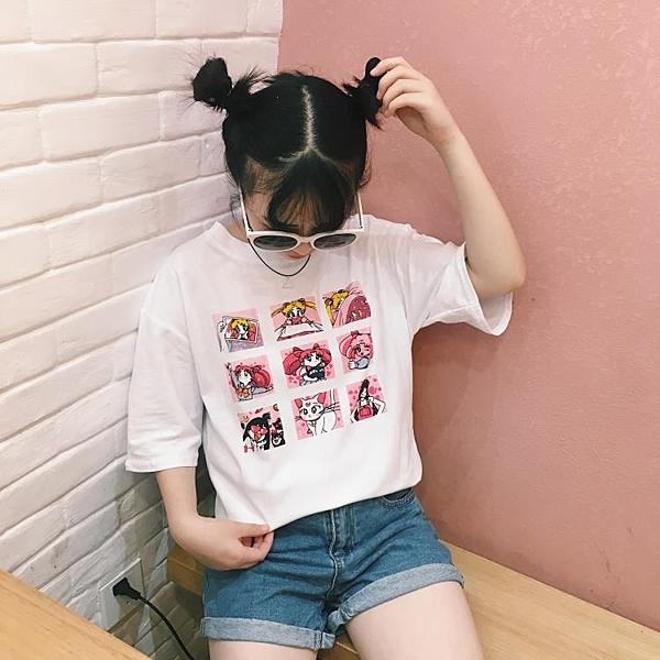 [超豐國際]軟妹學生上衣女夏裝寬松百搭可愛卡通印花短袖T恤潮1入