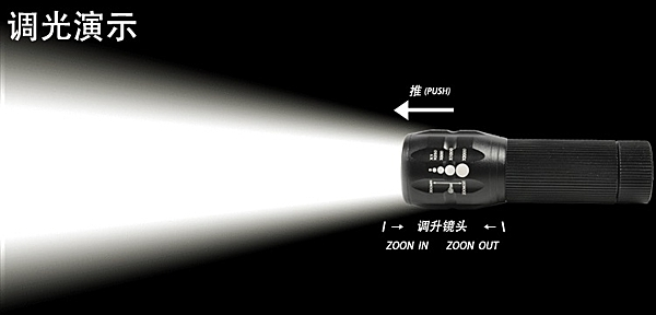 【尋寶趣】CREE Q5變焦強光手電筒(全配) 車燈槍燈手電筒 三段模式 附18650電池 延伸環 FLT-835