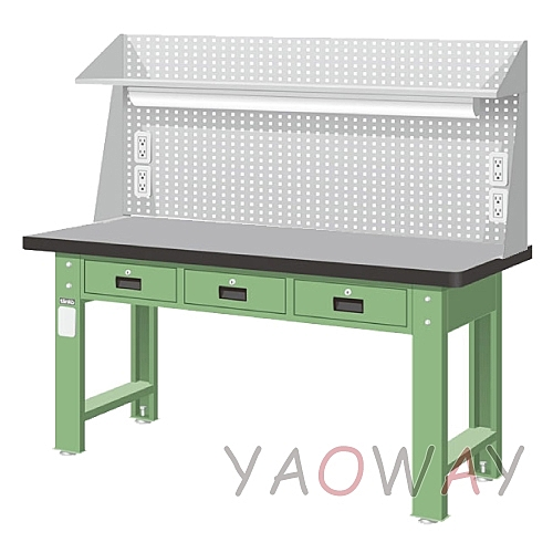 【耀偉】天鋼 橫式三屜(天鋼桌板)工作桌WAT-6203TH6 (工作台,工業桌,機台桌)