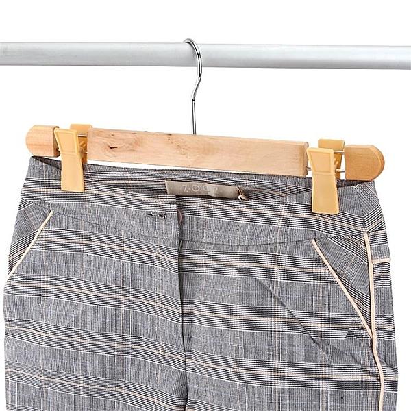[超豐國際]實木帶夾子防滑褲夾褲架褲掛木質多功能掛衣架掛褲子的架子
