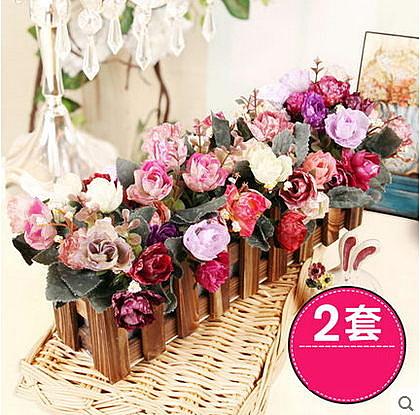 F0701 30CM玫瑰複古欄木柵欄花套裝 客廳裝飾仿真花假花(1套)