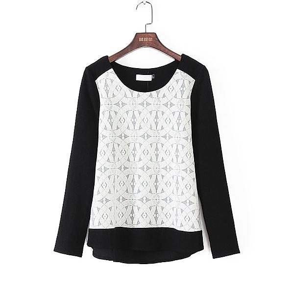 [超豐國際]麥春夏裝女裝黑色白色蕾絲拼接T恤 44526(1入)