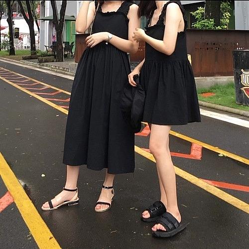 [超豐國際]夏季女裝赫本風無袖吊帶連衣裙寬松顯瘦高腰中長裙氣1入