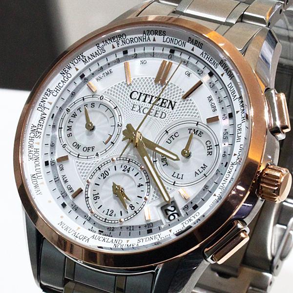 【萬年鐘錶】Citizen EXCEED Eco Drive光動能 衛星 GPS定位對時  限量鈦金屬款  白錶面 銀錶帶 CC9054-52A