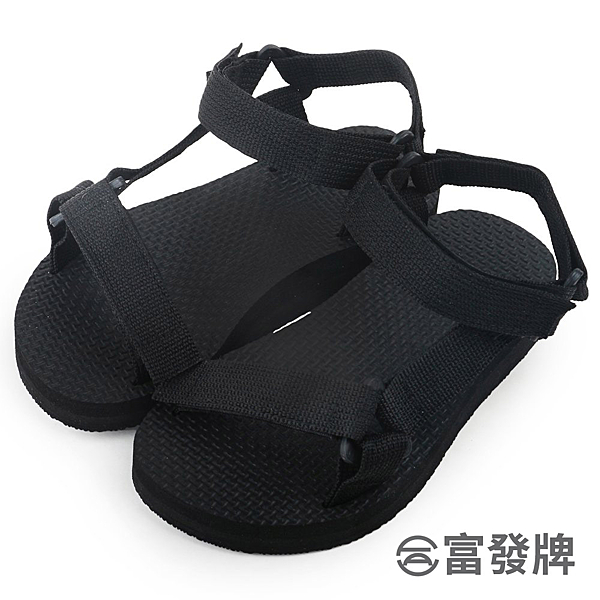 【富發牌】輕盈帆布工字兒童款涼鞋-黑  3ML11