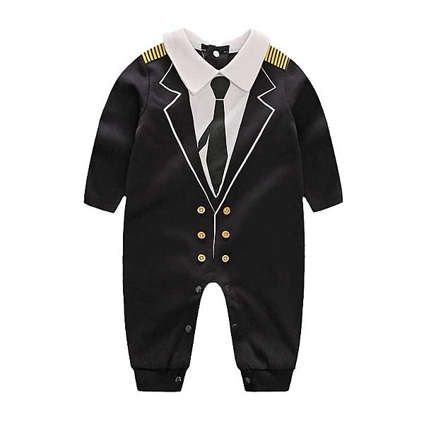 紳士西裝長袖兔子裝 黑色機長 | 婚宴花童連身衣(嬰幼兒/baby/新生兒)