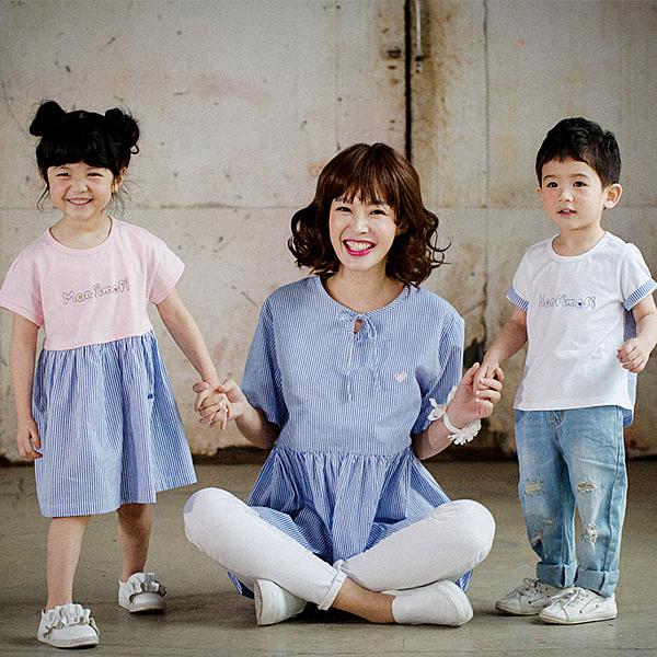 韓風條紋拼色寬裙式上衣親子裝情侶裝(女童)