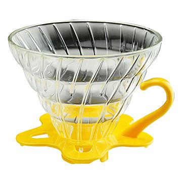 金時代書香咖啡  TIAMO V02 耐熱玻璃 咖啡 濾杯 濾器 附咖啡匙+滴水盤 黃色  HG5357Y