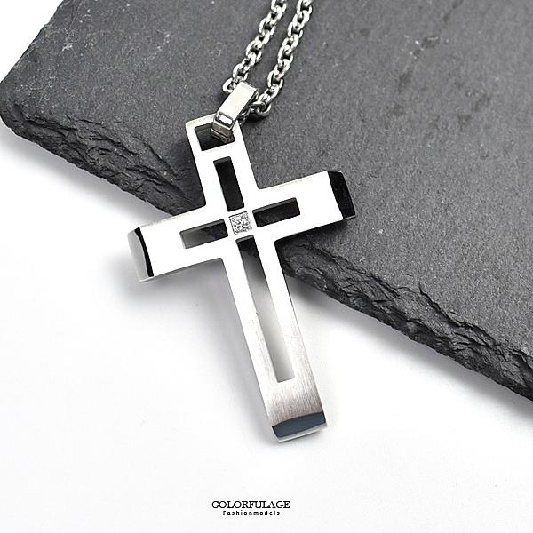 十字架項鍊 霧銀鏤空中間鑽鋼墜NB926