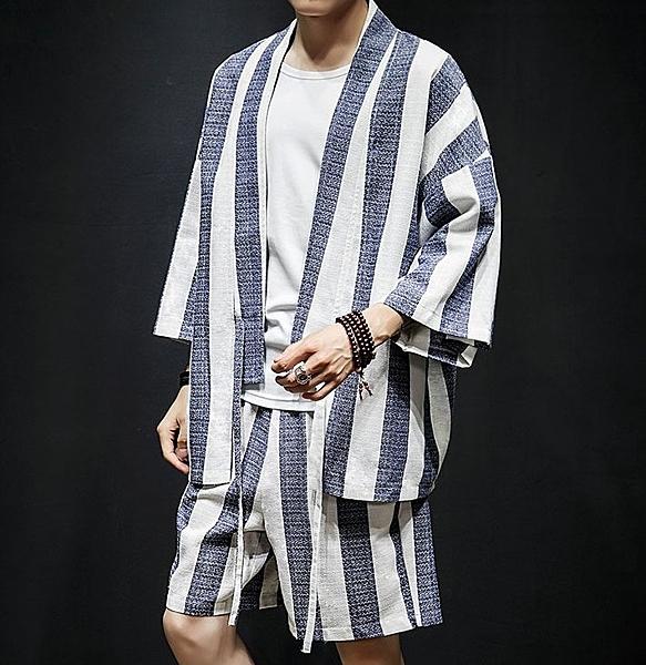 FINDSENSE H1 2018 夏季 新款 男 日本 氣質 條紋棉麻 開衫