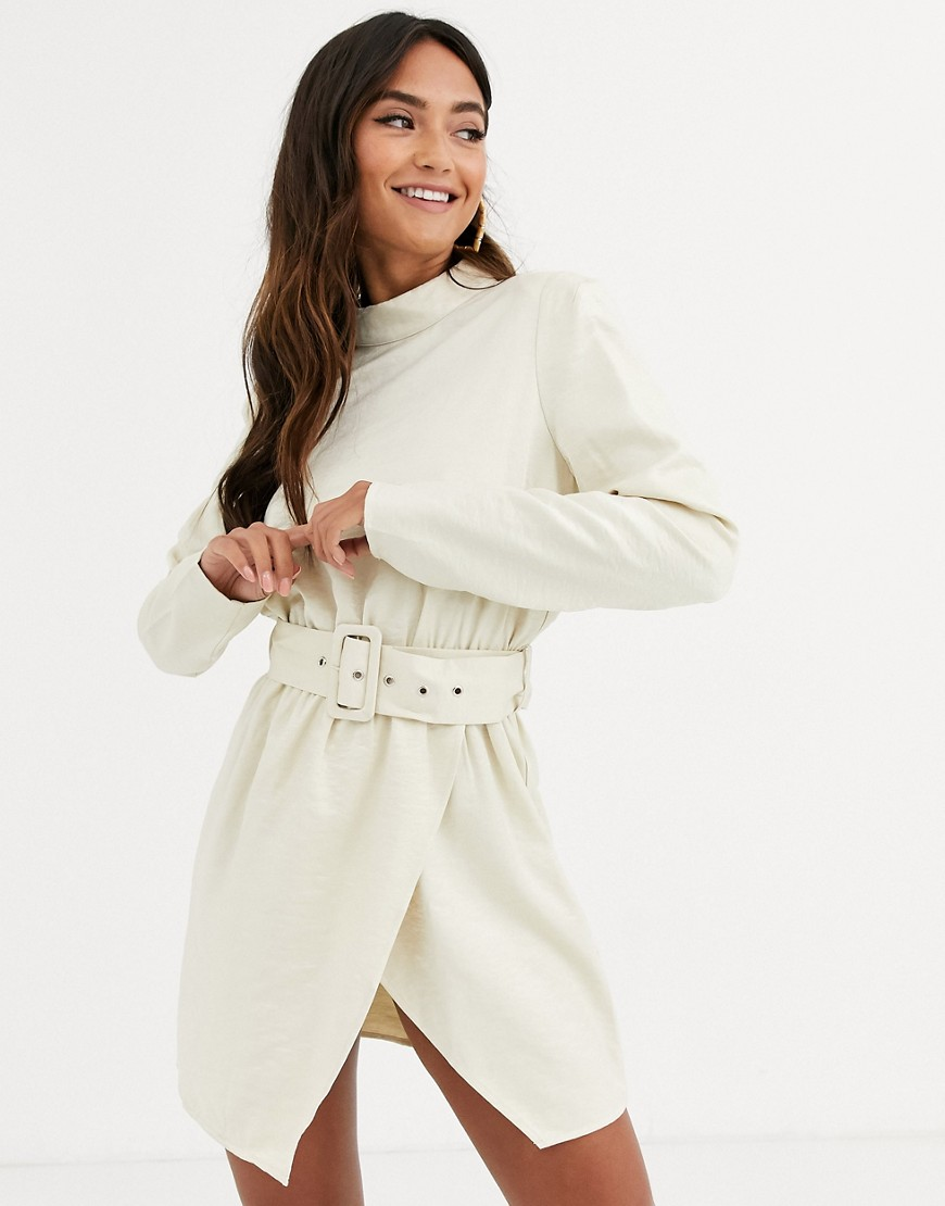 In The Style x Stephsa high neck shimmer mini dress with belt detail in cream-White