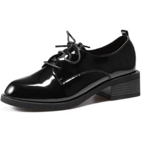 [イノヤシューズ] レディース レースアップシューズ マニッシュシューズ おじ靴 オックスフォード 黒 24.5cm ブラック 幅広 ワイド 美脚 (コットン) おしゃれ ポイント ブラック/