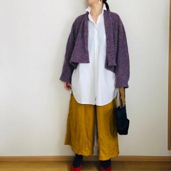 イタリー製紫ニットドルマンカーディガン