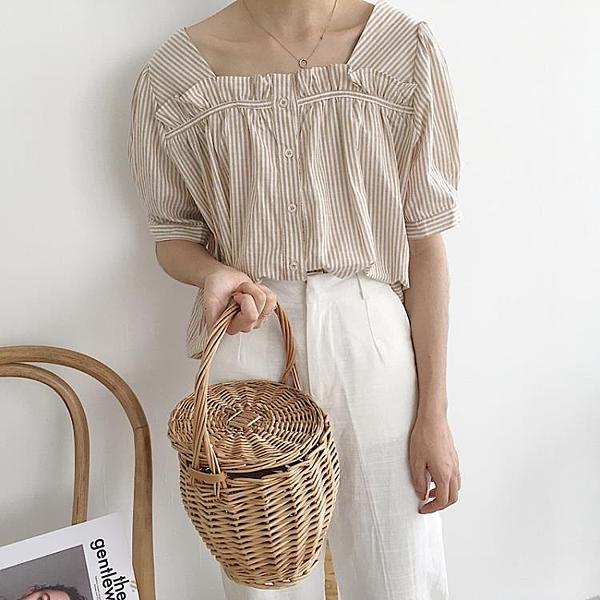 [超豐國際]夏裝花邊條紋方領泡泡袖棉麻襯衫寬松上衣女學生娃娃1入