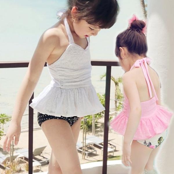 *╮小衣衫S13╭*公主款繫帶蕾絲二件式泳裝附泳帽1070503