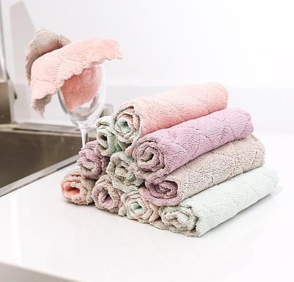88柑仔店---2278吸水洗碗布加厚擦桌布毛巾廚房不沾油不掉毛清潔抹布擦手巾