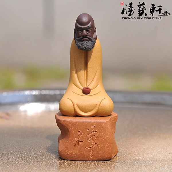 [超豐國際]宜興紫砂茶具茶寵雕塑 旺財招財助財吉祥紫砂參禪達摩 禪茶一味1入