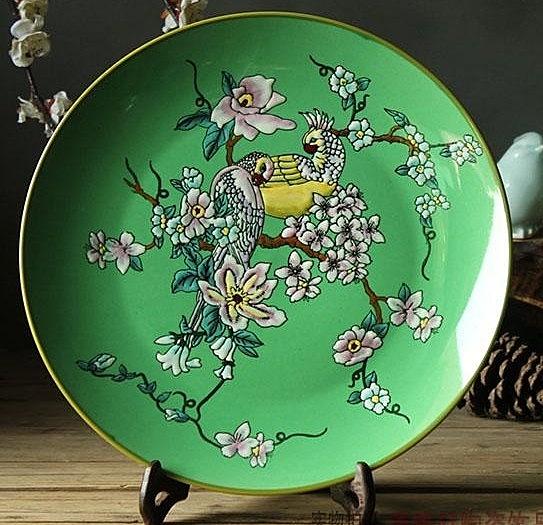 【協貿國際】景德鎮陶瓷綠色粉彩陶瓷裝飾盤