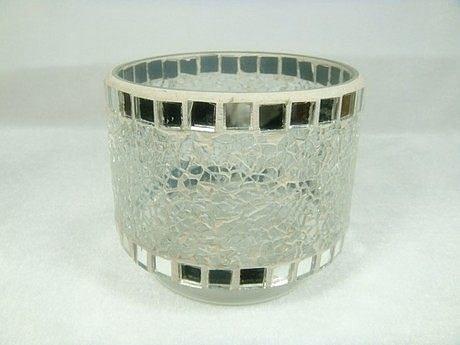 洛可可風情/白色鏡面玻璃貼片燭台