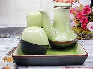 調味套具  日式 綠色冰裂釉