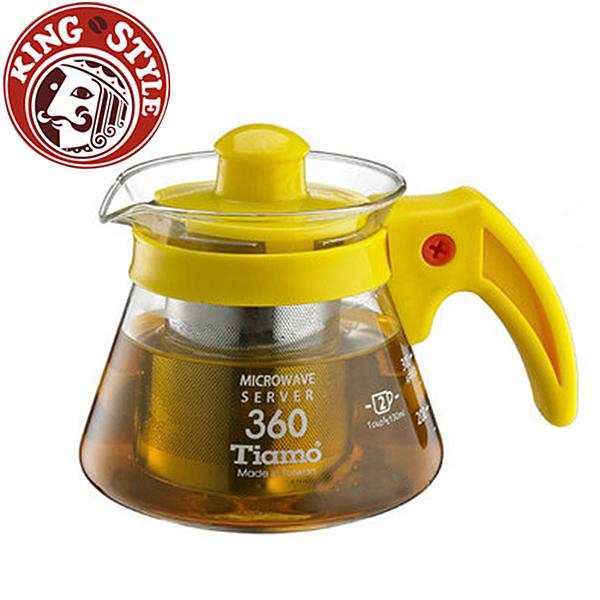 金時代書香咖啡 Tiamo 不鏽鋼濾網 玻璃花茶壺 360cc 黃色 HG2215Y