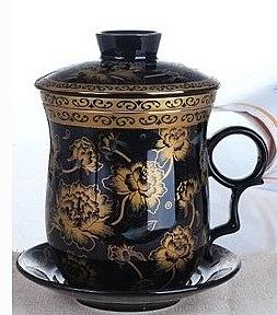 景德鎮 陶瓷 茶杯 4件套帶蓋帶過濾 雕金牡丹