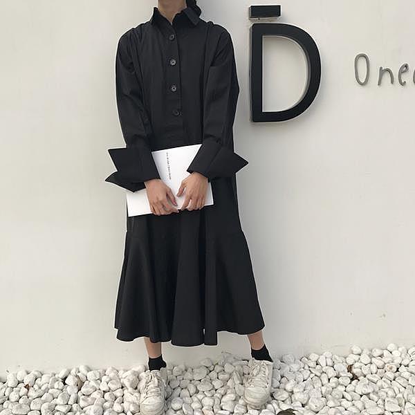[超豐國際]春裝女裝寬松中長款荷葉邊長袖連衣裙打底襯衫長裙學1入